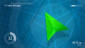 与HUD设计和POI背景的蓝色地图 免版税图库摄影