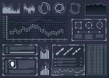 与infographics的元素的未来派用户界面 用户显示 抽象空间接口 库存照片