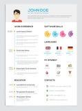 与Infographics的平的简历 库存照片