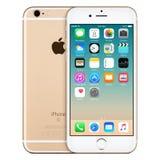与iOS 9的金苹果计算机iPhone 6s正面图在屏幕上 免版税图库摄影