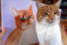 与it& x27的红色猫; s被绘的画象 免版税库存图片