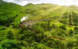 与Jacobite蒸汽的Glenfinnan铁路高架桥,在苏格兰的高地的Lochaber地区 库存图片