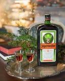 与Jagermeister酒精饮料,不老长寿药的新年好或圣诞节背景 瓶与玻璃的Jagermeister在葡萄酒t 免版税库存图片