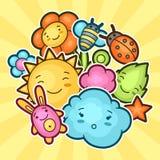 与kawaii乱画的逗人喜爱的儿童背景 快乐的漫画人物太阳,云彩,花,叶子的春天汇集 免版税图库摄影