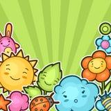 与kawaii乱画的逗人喜爱的儿童背景 快乐的漫画人物太阳,云彩,花,叶子的春天汇集 免版税库存图片