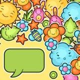 与kawaii乱画的逗人喜爱的儿童背景 快乐的漫画人物太阳,云彩,花,叶子的春天汇集 库存图片