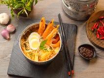 与laksa,鸡蛋,新芽,葱,大蒜,辣味番茄酱的虾汤 免版税库存图片