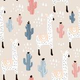 与lamma、仙人掌和手拉的元素的无缝的样式 幼稚纹理 伟大为织品,纺织品传染媒介例证 库存图片