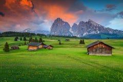与Langkofel小组的Seiser Alm在日落的背景,意大利中 图库摄影
