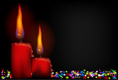 与LED光的红色蜡烛 图库摄影