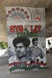 与Legia华沙橄榄球俱乐部的球员的街道画 免版税库存照片
