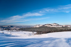 与Leuchtenburg的冬天风景 库存图片