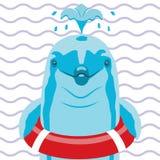 与lifebuoy的海豚在镶边背景 向量例证