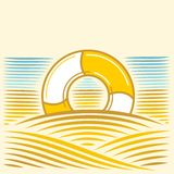 与lifebuoy的海风景 免版税库存照片
