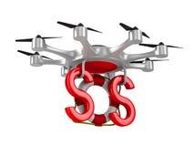 与lifebuoy的Octocopter在白色背景 查出的3D 库存照片