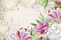 与liles和夹竹桃的花卉框架 库存图片