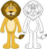 与Lineart的逗人喜爱的有人的特点的狮子 库存照片