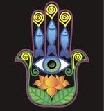 与lotos和眼睛的Hamsa 库存图片