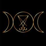 与Lucifer sigil的Wiccan标志  免版税库存图片