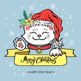 与Maneki Neko猫的圣诞快乐卡片与圣诞老人 皇族释放例证