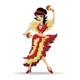 与maracas的拉提纳美好的女孩跳舞 库存图片