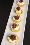 与mascarpone和莓的开胃菜 库存照片