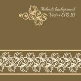 与mehndi样式的装饰花背景 免版税库存图片