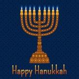 与menorah和文本愉快的光明节的光明节背景 蜡烛,大卫星和珠宝 库存例证
