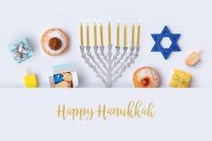 与menorah的犹太假日光明节横幅设计