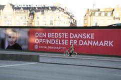 与METTE FREDERIKSEN_ELECTIONS的HUGES广告牌 库存照片