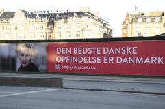 与METTE FREDERIKSEN_ELECTIONS的HUGES广告牌 图库摄影