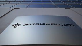 与Mitsui和Co的室外标志板 徽标 编译的现代办公室 社论3D翻译 影视素材