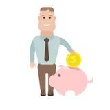 与moneybox的商人 免版税库存图片
