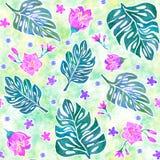 与monstera叶子和热带花的无缝的样式 皇族释放例证
