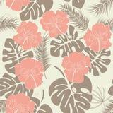 与monstera叶子和花的无缝的热带样式在香草背景 库存例证