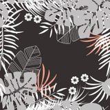 与monstera棕榈叶和植物的夏天无缝的热带样式 库存例证