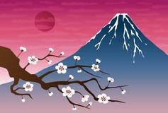 与Mt的风景例证 富士和洋李在日落 免版税库存图片