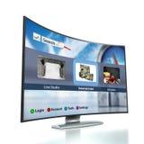 与OLED屏幕的弯曲的聪明的电视 库存图片