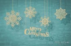 与origami圣诞节装饰的圣诞卡。 免版税库存照片