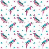 与Origami鸟的几何无缝的样式 库存例证