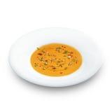 与pampkin种子的热的健康素食pampkin奶油汤 库存图片