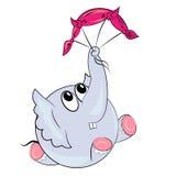 与parachute.sport动物的动画片大象 免版税图库摄影