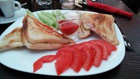 与pastrama tost的油煎的三明治 免版税库存图片