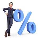 与Percent Means Company折扣和专家的商人 库存照片
