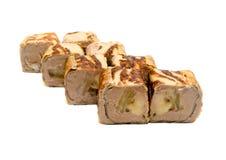 与pineaplle、香蕉和乳酪的甜寿司 免版税库存照片