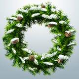 与pinecones和雪的圣诞节花圈 免版税库存图片