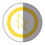 与pixelated游标箭头的贴纸黄色圆框架 库存照片