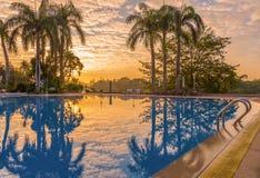 与plam树的豪华游泳池在日出期间 免版税库存图片
