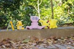 与pokemon题材的生日装饰 免版税库存图片