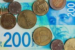 与portret的以色列金钱锡克尔在banknot和硬币 免版税库存图片